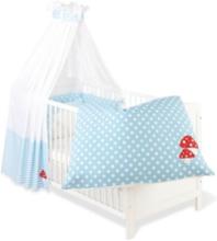 Textilset till Babysäng 4 delar, Glückspilz, Ljusblå - Sängyt & Lisätarvikkeet