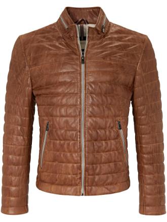 Kort quiltad skinnjacka 100% läder. från Milestone brun