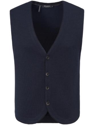 Stickad väst i 100% ren ny ull från MAERZ Muenchen blå