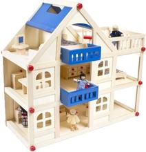 Woodi World Toy - Dockhus Heaven I Trä Med Dockor
