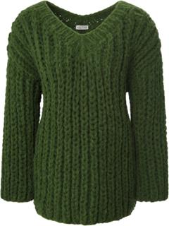 Strikbluse V-hals og lange ærmer Fra portray berlin grøn