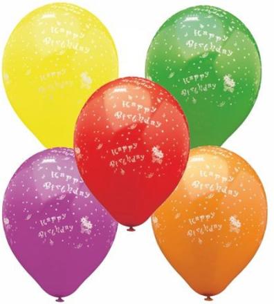 "Ballong Ø29cm sorterade färger ""Happy Birthday"