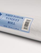 25 meter Hvit Damaskmønstret Papirduk på Rull