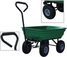 vidaXL Trädgårdsvagn tippbar 300 kg 75L grön