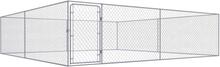 vidaXL Hundgård för utomhusbruk galvaniserat stål 4x4x1 m
