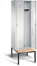 Garderobenschrank mit Bank 2-türig mit Drehschloss grau