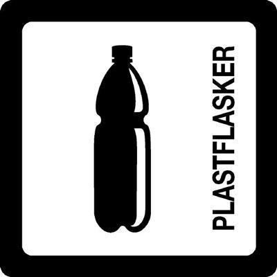 Klistermærke, hvid, plastflasker