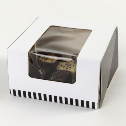 Kageæske m/låg 105x105x60mm Friskbagt brød og kager 225 stk/pak