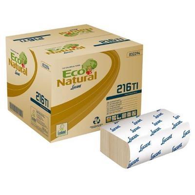 Dispenserserviet, T3 Eco Natural, 2-lags, 16,3x23,5cm, sand, 100% genbrugspapir