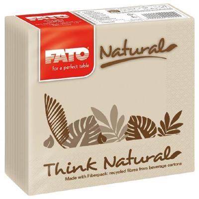 Kaffeserviet, T3, 2-lags, 1/4 fold, 25x25cm, natur, 100% genbrugspapir