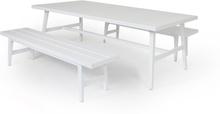 Calmar matgrupp Vit 2 bänkar & bord 220x106 cm
