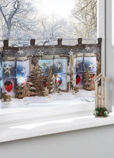 Cafégardin med LED-belysning och jultryck