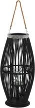 vidaXL Hängande ljuslykta bambu 60 cm svart