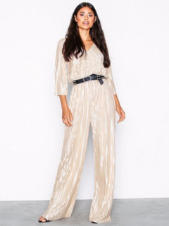 NLY Trend Pleated Strap Jumpsuit Jumpsuits Champagne