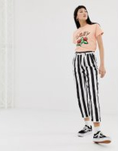 Obey cigarette trousers in bold stripe - Black/white