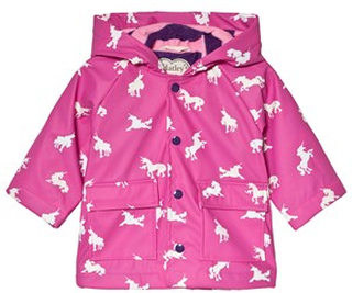 Hatley Pink Color Changing Unicorn Silhouettes Baby Raincoat 12-18 months