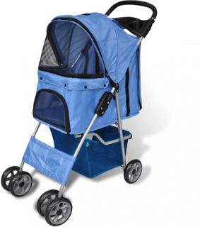 Sammenleggbar kjæledyr vogn (blå)
