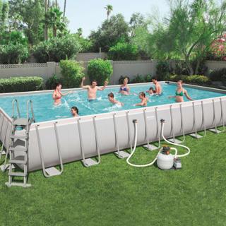 Bestway Power Steel pool rektangulær 956 x 488 x 132 cm 56623