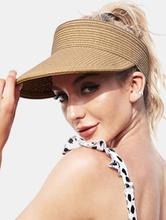 Frauen Stroh Einfarbig Leere Top Outdoor Sonnencreme Atmungsaktiv Casual Stroh Hut