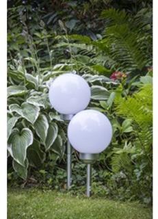 Sæt af 2 Runde LED Kugle Have Lamper | Pigmontering | Soldrevet Udendørs Belysning Lys | Til Have Terasse Sti | 20 x 20 x 60cm