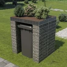 vidaXL gabionvæg affaldsspand galvaniseret stål 110 x 100 x 130 cm