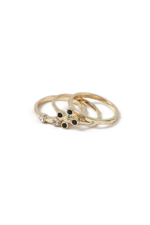 Gold Look Cross Ring Pack