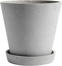 Hay Flowerpot ruukku ja lautanen XL, harmaa