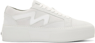 MSGM White Suede Logo Platform Sneakers