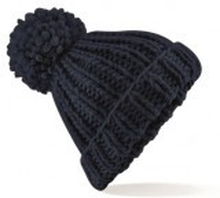 Oversized Hand-Knitted Beanie French Navy