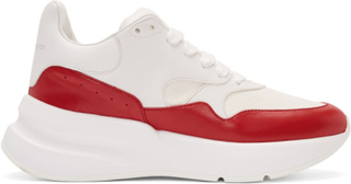 Alexander McQueen White and Red Oversized Runner Sneakers
