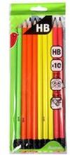Auchan - Ołówki neonowe HB z gumką, 10 szt.