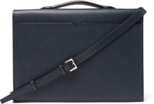 Pebble-grain Leather Briefcase - Navy