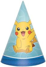 8 stk Partyhatter - Pikachu og Pokémon-Venner