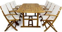 Förlängningsbart bord + 8 stolar