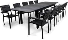 Utemöbler   Förlängningsbart bord 200-300cm   10 stolar