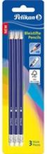 Pelikan - Ołówki drewniane, 3 szt., HB z gumką