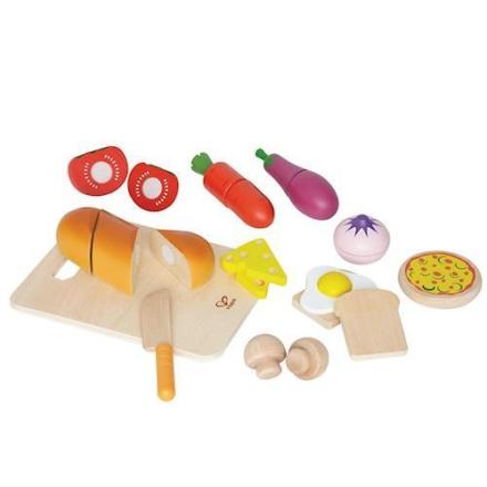 Hape E3110 legemad skærebræt med mad og tilbehør i træ