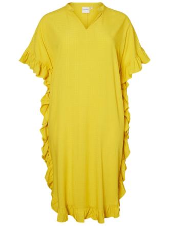 JUNAROSE Feminine Flounce Dress Women Yellow