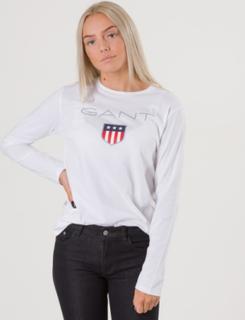 Gant, SHIELD LOGO LONG SLEEVE, Hvit, T-shirt/Singlet för Jente, 170 cm
