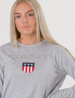 Gant, TB. GANT SHIELD LOGO LS T-SHIRT, Grå, T-shirt/Singlet för Jente, 176 cm