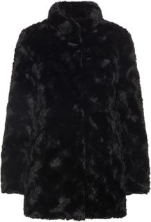VERO MODA Synthetic Fur Jacket Kvinna Svart