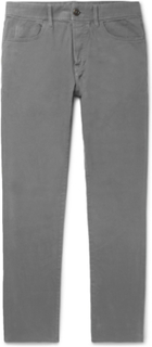 Slim-fit Brushed Stretch-cotton Twill Trousers - Gray