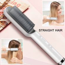 Professional Electric Hair Straightener Brush Heated Comb Straightening Combs Men Beard Hair Straight & Curly Styling Tool