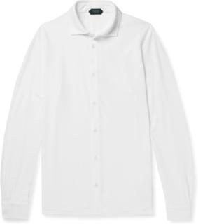 Cutaway-collar Cotton Shirt - White