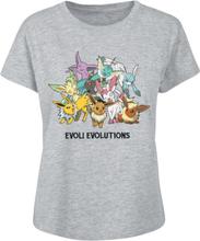 Pokémon - Eeevee - Evolutions -T-skjorte - gråmelert
