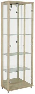 Optima vitrin & glasskåp - Ek 2 dörrar (med spegelbakstycke)