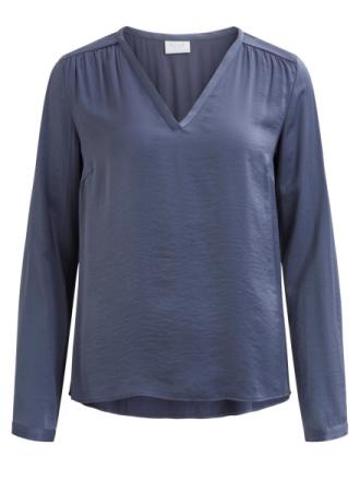 VILA V-neck Long Sleeved Top Women Blue