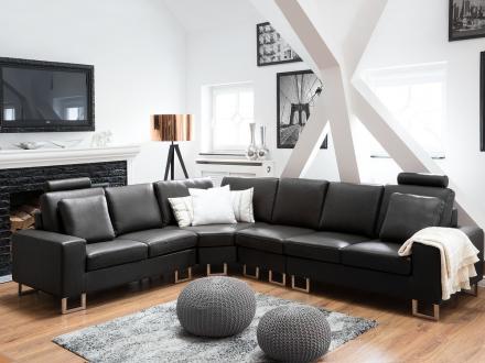 Sofa Læder Sort Stockholm