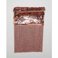 ASOS DESIGN - clutch i roséguld med paljetter och fransar - Rosa