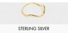 ASOS DESIGN – Guldpläterad ring i äkta silver med vågig design